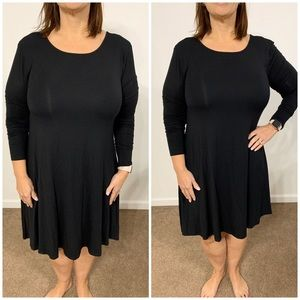 Old Navy Long Sleeve Black Swing Dress